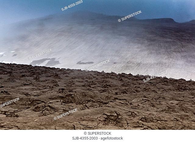 Steam rising from the ground at the summit of The Eyjafjallajokull Volcano in Iceland one year after the eruption. Lava broke through the Gigjokull Glacier...