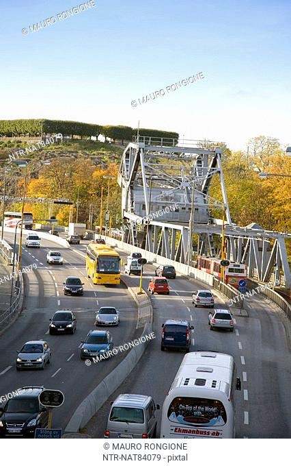 Traffic on a bridge, Stockholm, Sweden
