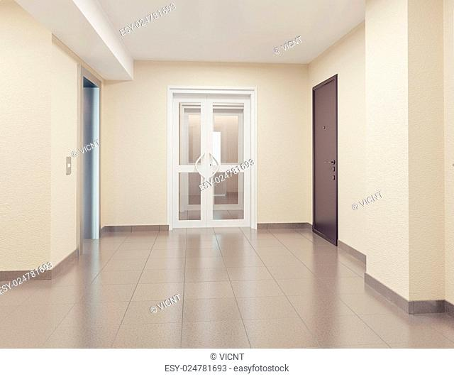 modern hall interior. 3d concept