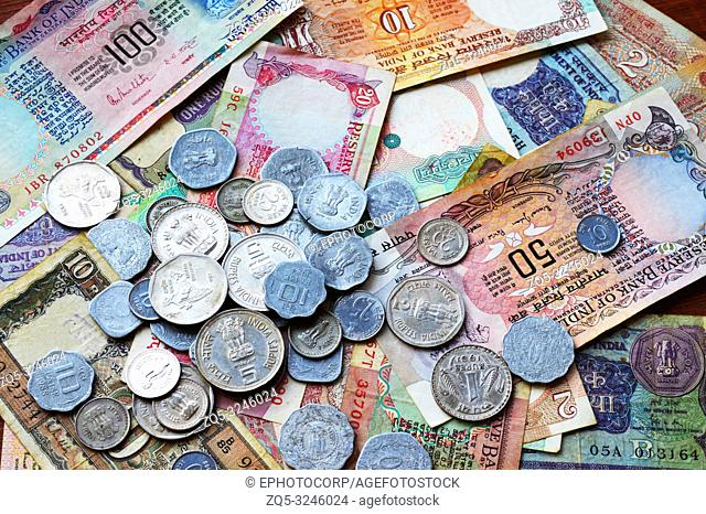 Old Indian currency collection, coins and currency