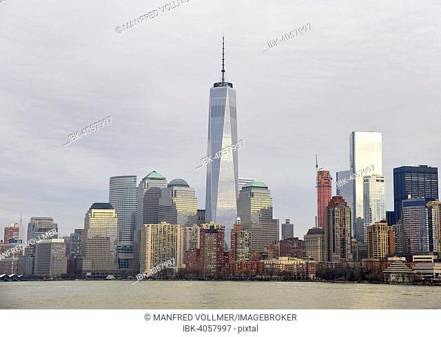 Skyline of the financial district of Manhattan with the One World Trade Center or Freedom Tower, main building of the new World Trade Center, Manhattan