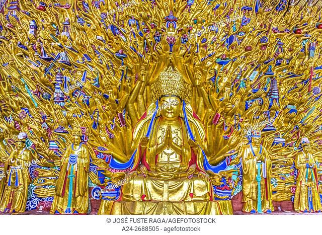 China, Chongqin province, Dazu Buddhist Caves (W. H. ), Goddess of Mercy, Guanyin or Avalokiteshvara