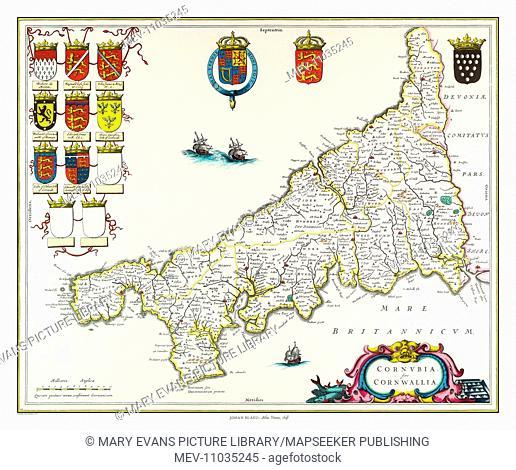 Map of Cornwall by Johan Blaeu