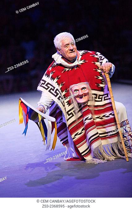"Elderly man during 'Dance of the old men from Jaracuaro' performance of """"Mexico Espectacular""""' with traditional dress at the stage, Xcaret, Playa del Carmen"