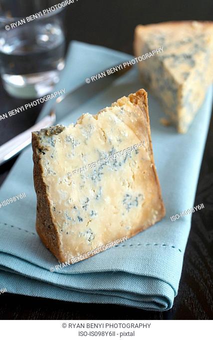 Blue cheese on blue napkin