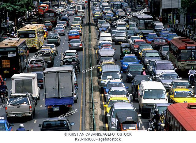 Traffic Jam in downtown Bangkok, Thailand, Asia