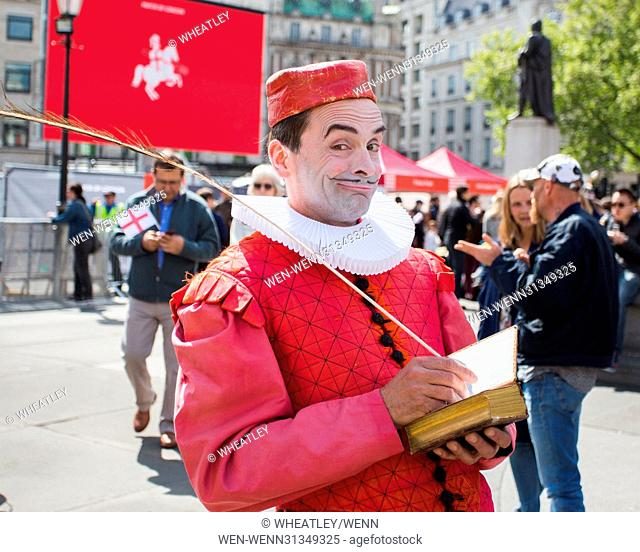 Feast of St George 2017 celebrating the patron saint of England with a feast of English food & live music in Trafalgar Square, London, UK