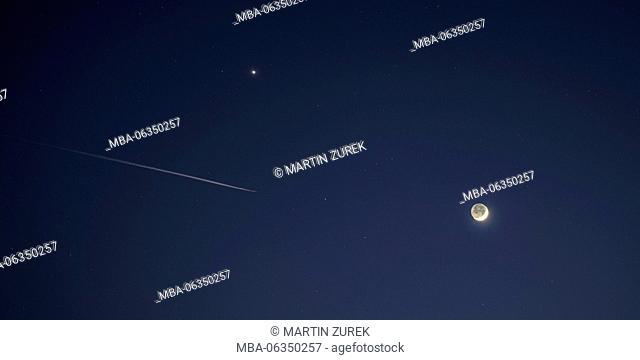 Venus, moon and airplane, New Year, January, blue hour, Germany, Bavaria, Allgäu, Irsee (municipality)