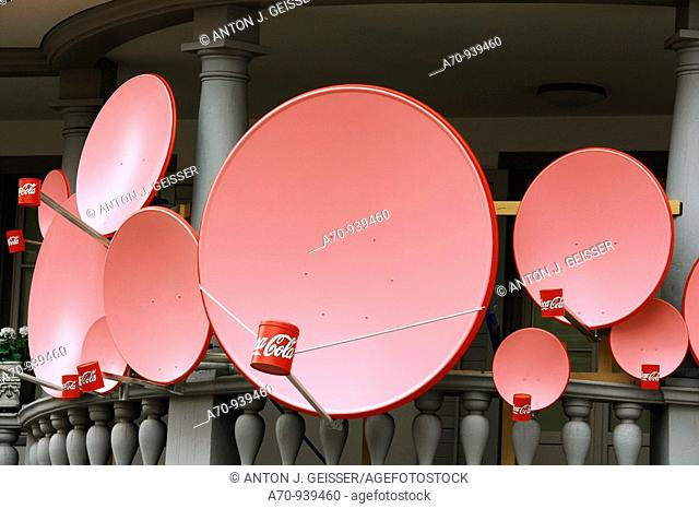Pink satellite dish ONLY EDITORIAL! 16 October, 2009