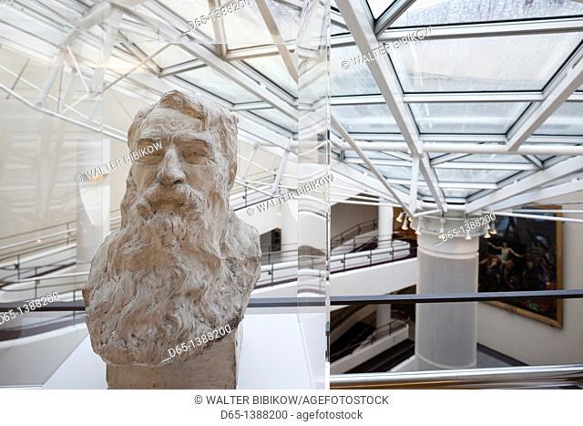 France, Puy-de-Dome Department, Auvergne Region, Clermont-Ferrand, Old Montferrand, Musee d'Art Roger-Quilliot museum, interior and sculpture