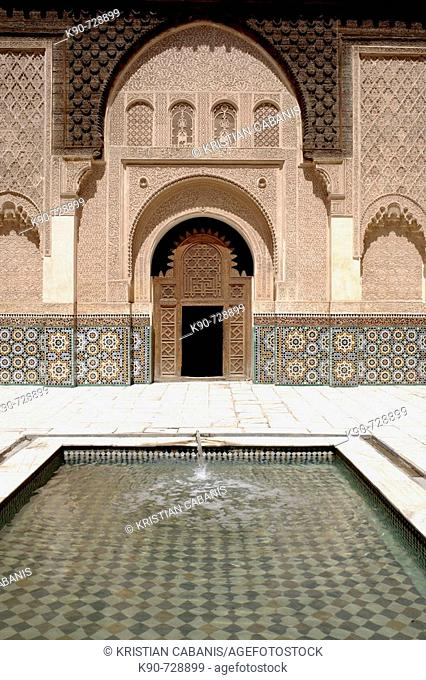 Ali ben Youssef Medersa,traditional islamistic theological university in the medina of Marrakesh, Morocco  Maghreb, North Africa