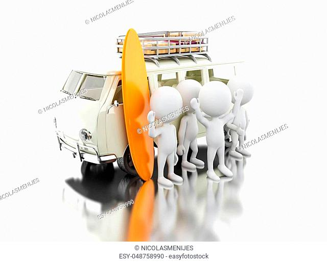 3d illustration. White people in van with surfboards on the roof. Surfing or vacation concept. Isolated white background