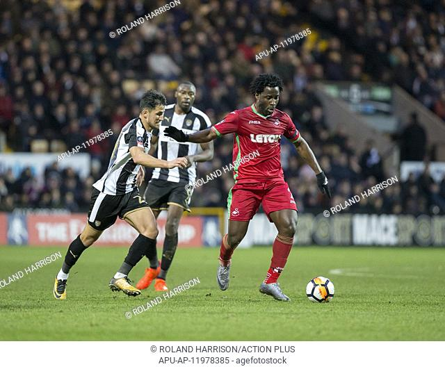 2018 FA Cup Football 4th Round Notts County v Swansea City Jan 27th. 27th January 2018, Meadow Lane, Nottingham, England; FA Cup football, 4th round