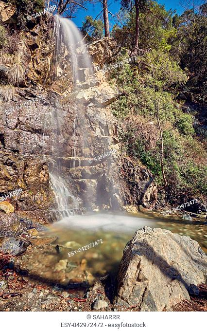 TROODOS MOUNTAIN, CYPRUS.The waterfall of Kalidonia close to Platres village, Troodos mountain, district of Limassol