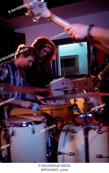 Band mates performing together
