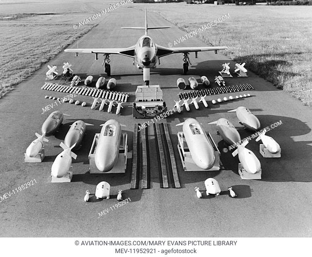 An RAF Hawker Hunter Parked with a Display of External Stores - Missiles, Bombs, Rockets, Pods