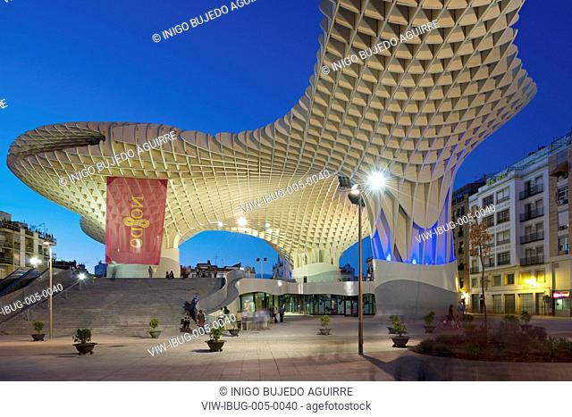 METROPOL PARASOL BY J MAYER H ARCHITECTS IN SEVILLA SPAIN. General exterior evening viewSEVILLA, SPAIN, Architect