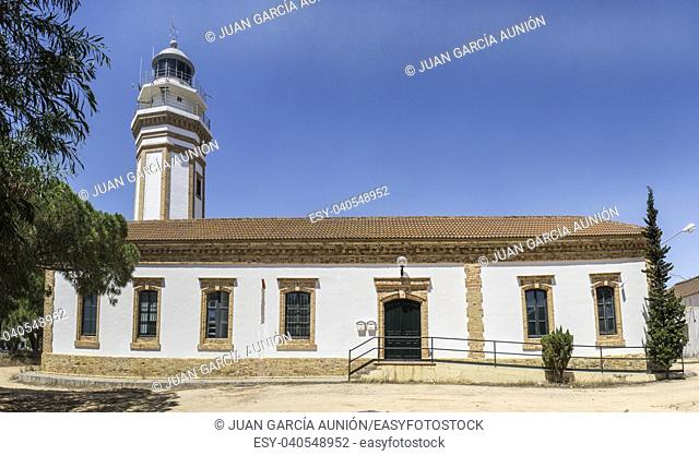 Urban lighthouse building at Mazagon, Costa de la Luz, Huelva region, Andalucia, Spain, Europe