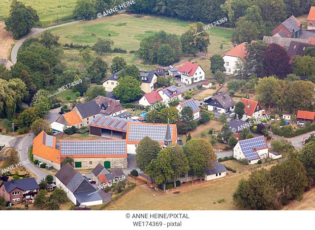 Aerial photo of Soester Börde, Haarstrang, Germany. Little farming village on Haarstrang