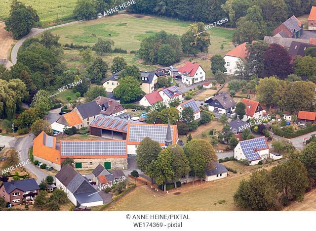 Aerial photo of Soester Börde, Haarstrang, Germany. Little farming village on Haarstrang