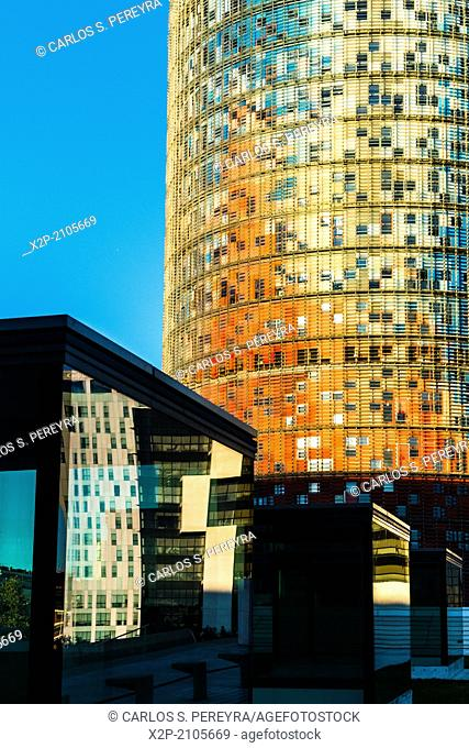 Torre Agbar tower, Barcelona, Catalonia, Spain, Europe