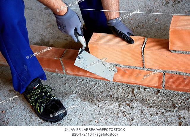 Construction worker with trowel, hand tools, Placement of brick with mortar on interior walls of housing, House Construction, Basque Country, Spain