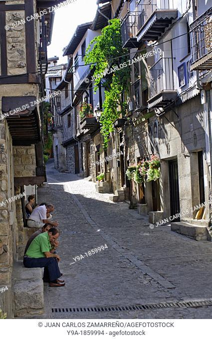 Street at sunday in Mogarraz, Conjunto Historico, with art exhibition, Las Batuecas & Sierra de Francia Natural Park, Salamanca, Castilla y Leon, Spain