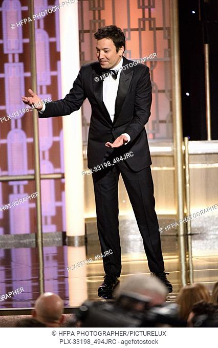 Host Jimmy Fallon on stage at the 74th Annual Golden Globe Awards at the Beverly Hilton in Beverly Hills, CA on Sunday, January 8, 2017
