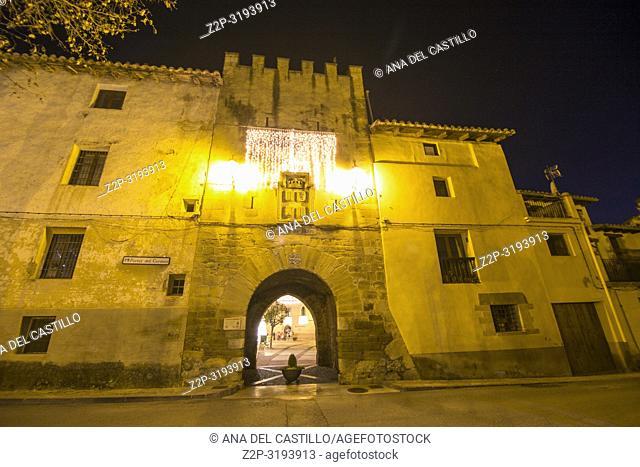 Christmas time in Rubielos de Mora walled village in Teruel Aragon Spain