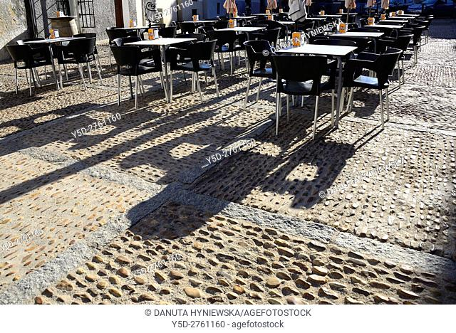 Plaza de Santiago, old town of Caceres, UNESCO , Extremadura, Spain. Europe