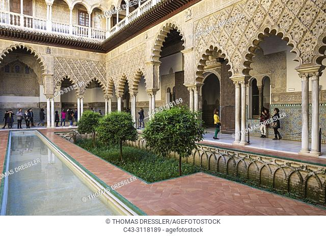 The Patio de las Doncellas (Courtyard of the Maidens) in the Alcazar of Seville. Seville province, Andalusia, Spain