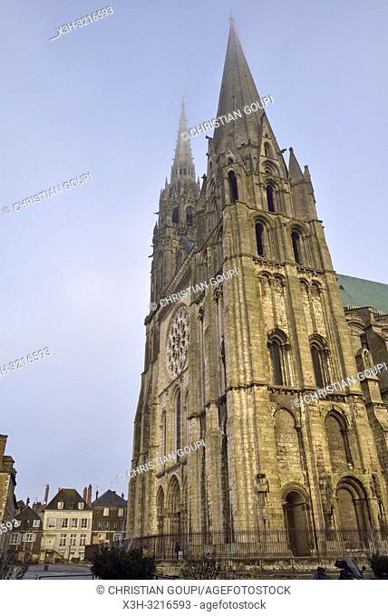 Tour Sud-Ouest et facade Ouest de la Cathedrale Notre-Dame de Chartres,Eure et Loir,region Centre,France,Europe/south-west tower and west favade of the...