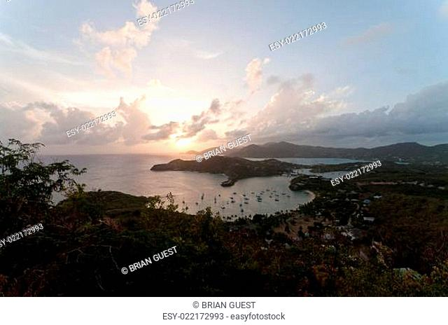 View of English Harbour from Shirley Heights at Sunset
