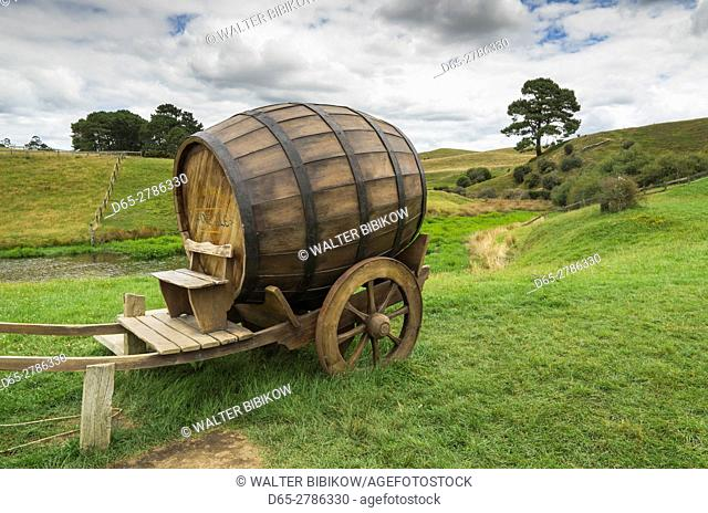 New Zealand, North Island, Matamata, Hobbiton Movie Set, Hobbit ale wagon