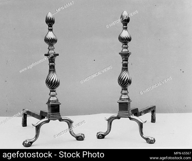 Andiron. Maker: Revere and Son (ca. 1787-?); Date: 1787-1810; Geography: Made in Boston, Massachusetts, United States; Culture: American; Medium: Brass