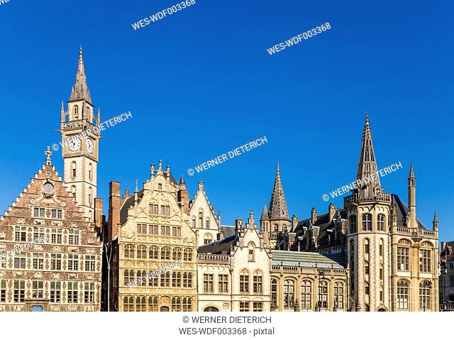 Belgium, Ghent, old town, Graslei, historical houses