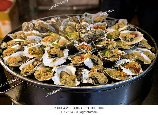 Close-Up Of Steamed Oysters, Guangzhou, China