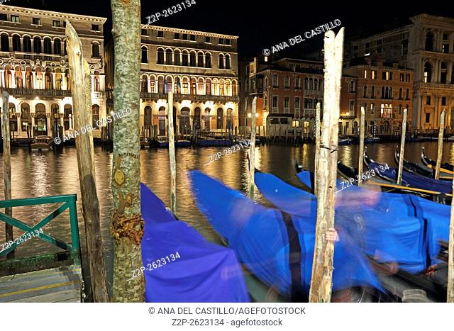 Canal Grande 0r Gran Canal by night on January 22, 2016 in Venice, Italy