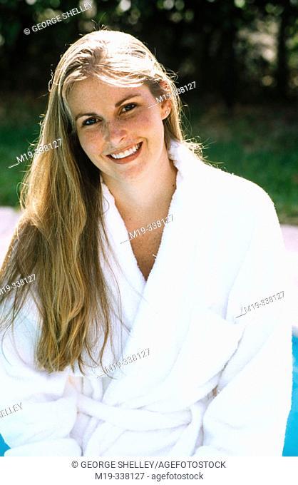 woman in bathrobe