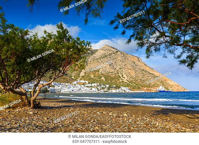 View of Kamares village on Sifnos island from the beach.