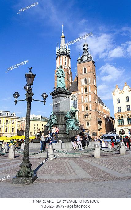 Mariacki church at the Main Square in Krakow, Poland, Europe