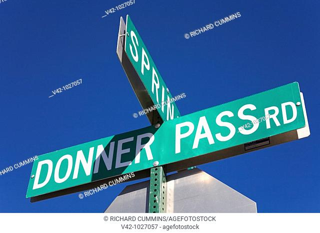 Road sign in downtown Truckee, California, USA