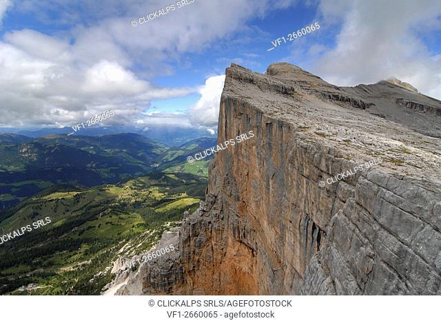 Alta Badia, Dolomites, South Tyrol, Italy. The west wall of the Sasso di Santa Croce / Heiligkreuzkofel