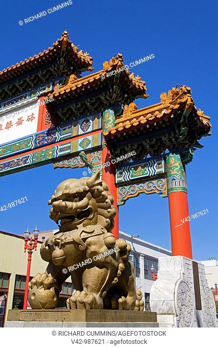 Chinatown Gate in the Chinatown District of Portland, Oregon, USA