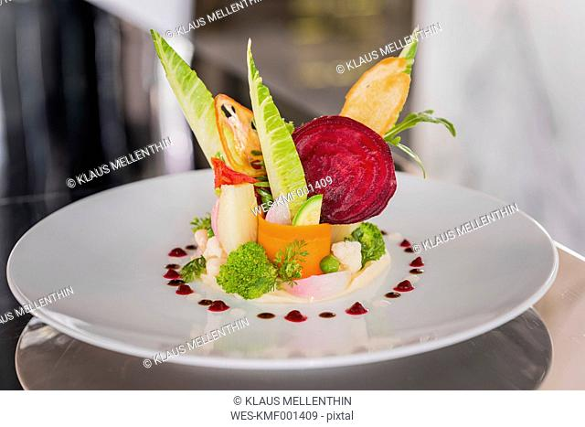 Vegetable salad on plate, Haute Cuisine