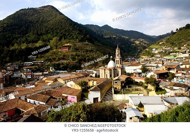 Angangueo village in Mexico near the El Rosario monarch butterfly sanctuary where they fly south for the winter from Canada to central Mexico