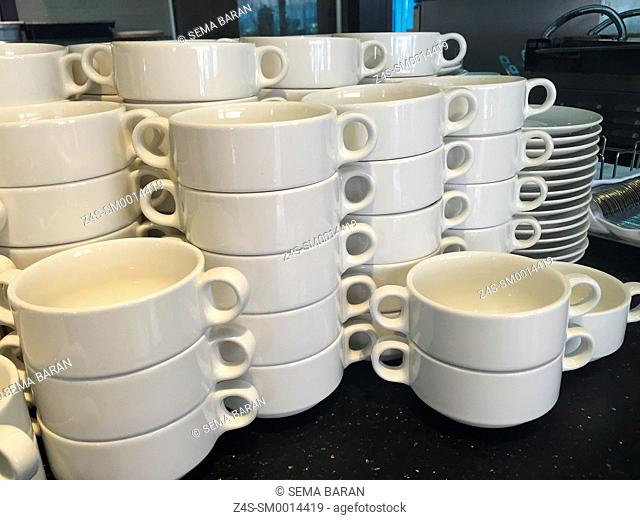 White empty soup bowls ready to serving