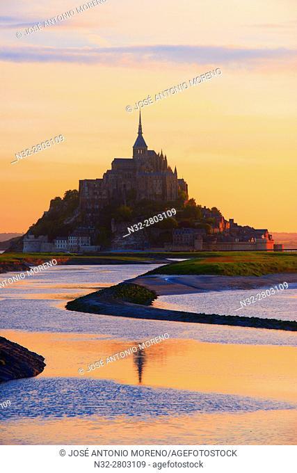 Mont St Michel, Sunset, Mont-Saint-Michel, Benedictine abbey, Pontorson, UNESCO, World Heritage Site, Manche, Normandy, France