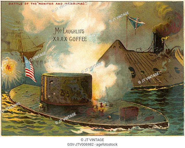 """""""Battle of the Monitor and the Merrimac."""", McLaughlin's XXXX Coffee Trade Card, 1889"""