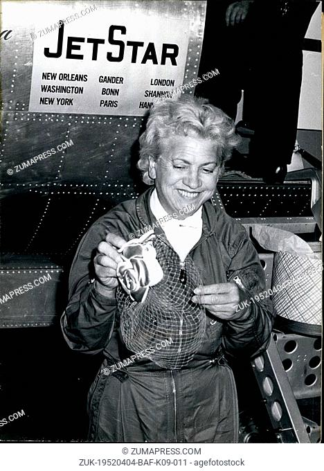 Apr. 04, 1952 - The fastest Easter in her life.. experienced Jacqueline Cochran in a ten and a half hours' record flight with six intermediate landings